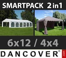 Partyzelte SmartPack 2-in-1-Lösung: Partyzelt Exclusive 6x12m, weiß/Pavillon 4x4m,…