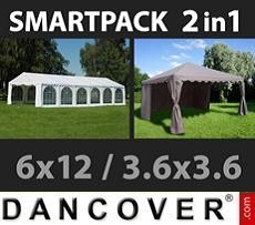 Partyzelte SmartPack 2-in-1-Lösung: Partyzelt Exclusive 6x12m, weiß/Pavillon