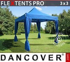 Partyzelte Faltzelt FleXtents PRO 3x3m Blau, inkl. 4 Vorhänge