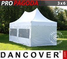 Partyzelte Faltzelt FleXtents PRO Peak Pagoda 3x6m Weiß, inkl. 6 Seitenwände