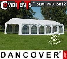 Partyzelt, SEMI PRO Plus CombiTents® 6x12m 4-in-1, Weiß