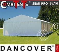 Partyzelt, SEMI PRO Plus CombiTents® 8x16 (2,6)m 6-in-1, Weiß