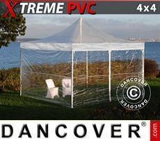 Partyzelte Faltzelt FleXtents Xtreme 4x4m Transparent, mit 4 Wänden