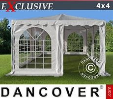 Pagodenzelt Exclusive 4x4m PVC, Weiß