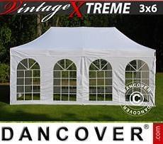 Faltzelt FleXtents Xtreme Vintage Style 3x6m Weiß, mit 6 wänden