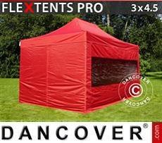 Faltzelt FleXtents PRO 3x4,5m Rot, mit 4 wänden