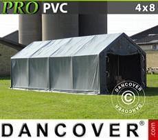 Lagerzelt PRO 4x8x2x3,1m, PVC, Grau