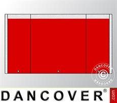 Giebelwand UNICO 3m mit schmaler Tür, Rot