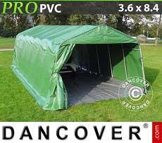 Carpa garaje PRO 3,6x8,4x2,68m PVC, con cubierta de terreno, Verde / Gris