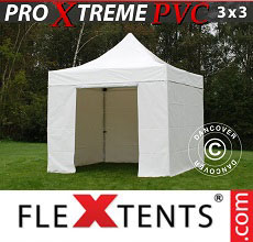 Carpa plegable FleXtents Xtreme Heavy Duty 3x3m, Blanco incl. 4 lados