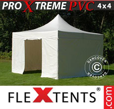 Carpa plegable FleXtents Xtreme Heavy Duty 4x4m, Blanco incl. 4 lados