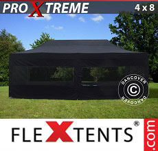Carpa plegable FleXtents Xtreme 4x8m Negro, Incl. 6 lado