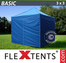 Carpa plegable FleXtents Basic 300, 3x3m Azul, incl. 4 lados