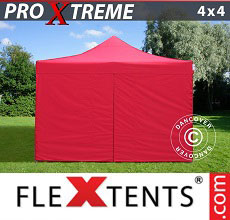 Carpa plegable FleXtents Xtreme 4x4m Rojo, Incl. 4 lados