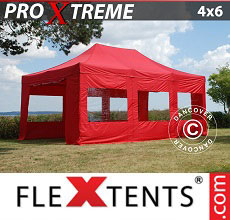 Carpa plegable FleXtents Xtreme 4x6m Rojo, Incl. 8 lados