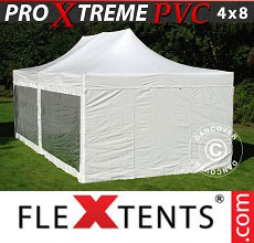 Carpa plegable FleXtents Xtreme Heavy Duty 4x8m blanco, Incl. 6 lados