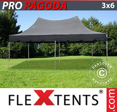 Carpa plegable FleXtents PRO Peak Pagoda 3x6m Negro, incluye 6 muros laterales