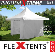 Carpa plegable FleXtents Pagoda Xtreme 3x3m / (4x4m) Blanco, Incl. 4 lados