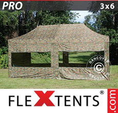 Carpa plegable FleXtents PRO 3x6m Camuflaje, incl. 6 lados