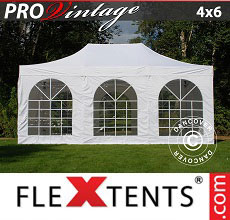 Carpa plegable FleXtents PRO Vintage Style 4x6m Blanco, Incl. 8 lados