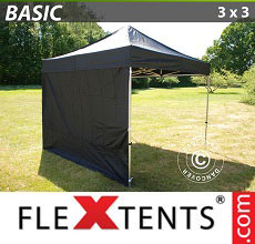 Carpa plegable FleXtents Basic 300, 3x3m Negro, Incl. 4 lados