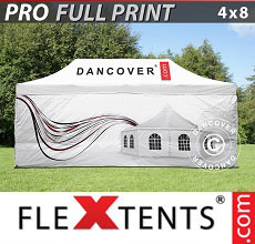 Carpa plegable FleXtents PRO con impresión digital completa, 4x8m, incluye 4