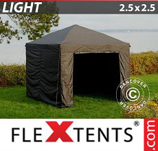 Carpa plegable FleXtents Light 2,5x2,5m Negro, Incl. 4 lados