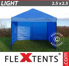 Carpa plegable FleXtents Light 2,5x2,5m Azul, Incl. 4 lados