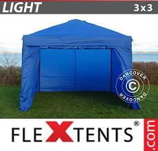 Carpa plegable FleXtents Light 3x3m Azul, Incl. 4 lados
