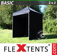 Carpa plegable FleXtents Basic 300, 2x2m Negro, Incl. 4 lados
