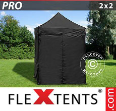 Carpa plegable FleXtents PRO 2x2m Negro, incl. 4 lados