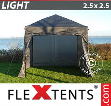 Carpa plegable FleXtents Light 2,5x2,5m Gris, Incl. 4 lados