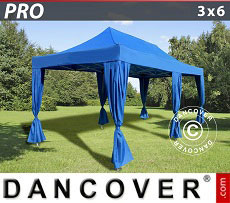 Flextents Carpas Eventos PRO 3x6m Azul, incluye 6 cortinas decorativas