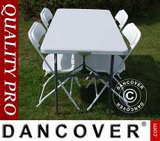 Conjunto para fiesta, 1 mesa plegable (150 cm) + 4 sillas, Gris claro/Blanco