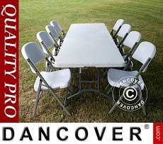 Conjunto para fiesta, 1 mesa plegable (242cm) + 8 sillas, Gris claro/Blanco