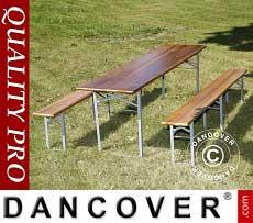 Set de mesa y banco de madera, madera oscura, pata plegable de acero, 220cm