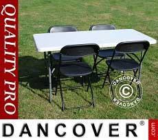 Conjunto para fiesta, 1 mesa plegable (150 cm) + 4 sillas, Gris claro/Negro