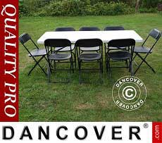 Conjunto para fiesta, 1 mesa plegable (182cm) + 8 sillas, Gris claro/Negro