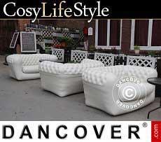 Mobiliario para eventos - Sofá hinchable estilo Chesterfield, 2 asientos, Blanco sucio