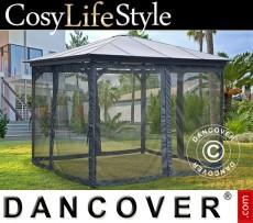 Cenador de jardín Santa Monica con paredes laterales y mosquitero, 3.6x3.6m,...