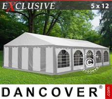 Carpa para fiestas Exclusive 5x12m PVC, Gris/Blanco