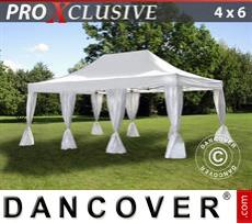 Carpa para fiestas PRO 4x6m Blanco, incl. 8 cortinas decorativas