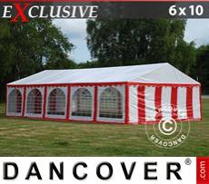 Carpa para fiestas Exclusive 6x10m PVC, Rojo/Blanco