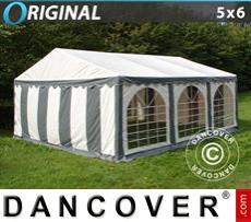 Carpa para fiestas Original 5x6m PVC, Gris/Blanco
