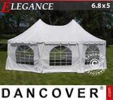 Carpa para fiestas Elegance, octagonal 6,8x5m, Blanco sucio