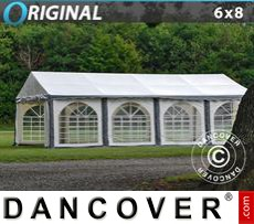 Carpa para fiestas Original 6x8m PVC, Gris/Blanco