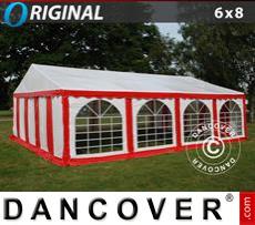 Carpa para fiestas Original 6x8m PVC, Rojo/Blanco