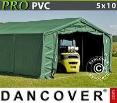 Carpa grande de almacén PRO 5x10x2x2,9m, PVC, Verde