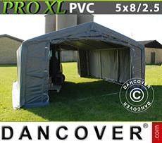 Carpa grande de almacén PRO 5x8x2,5x3,3m, PVC, Gris
