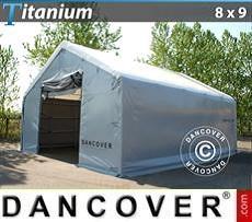 Carpa de almacén grande Titanium 8x9x3x5m, Blanco / Gris